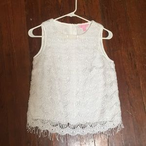 Lilly Pulitzer Button Back Fringe Top